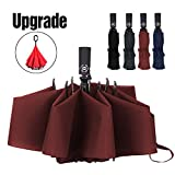 Umbrella Reverse Travel Umbrellas Windproof Compact Folding-Burgundy
