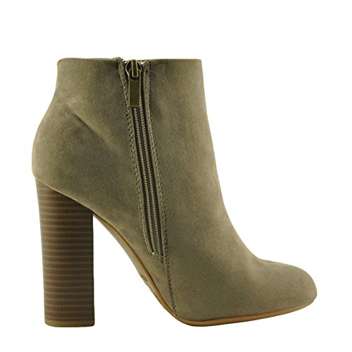 Zip Up Booties Chunky Scenery Ankle 02M Bamboo Taupe Heel Womens qUwgxxFIt