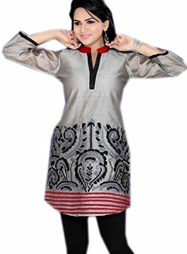 Jayayamala Art und Weise graue Silk Baumwollgewebe gesticktes Kleid