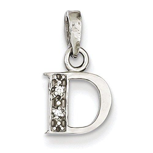 Or blanc 14 carats diamant brut brillant .01ct-JewelryWeb pendentif initiale D