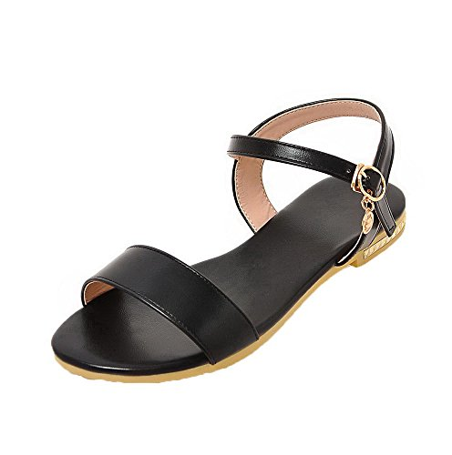 AalarDom Womens Open-Toe Low-Heels PU Solid Buckle Sandals Black