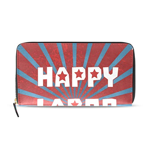 Womens Wallets Happy Labor Day With Star Leather Passport Wallet Change Purse Zip Handbags ()