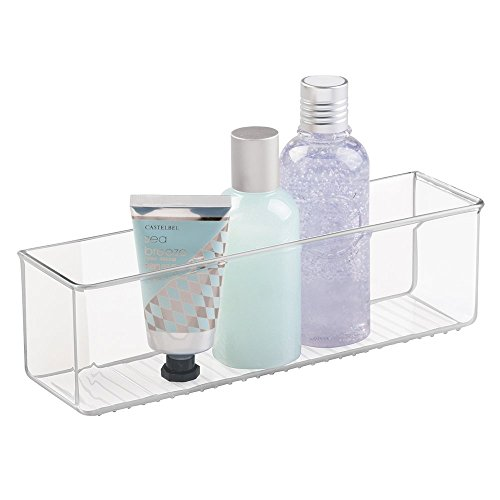 mDesign AFFIXX, Self-Adhesive Bathroom, Shower, and Vanity Cosmetic Organizer - Long, Clear (Self Adhesive Soap Dispenser compare prices)