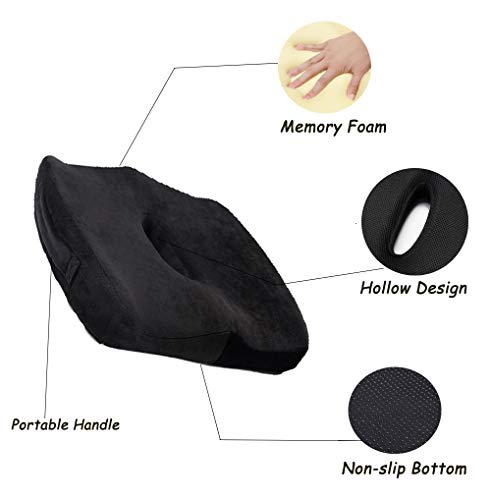 Ido4U Memory Foam Seat Cushion with Center Hollow Design Portable Handle Nonslip Seat Cushion Pad for Car Office Chairs Relieves Back Pain (Velvet Cover)