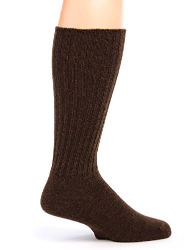 Warrior Alpaca Socks - Women's Ribbed Casual Everyday Alpaca Wool Crew Socks (Dark Brown M) (Ribbed Wool Blend)