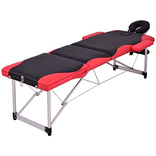 Black And Red 72''L Portable Massage Table Heavy Duty Aluminum Frame Salon SPA Chair Beauty Height Adjustable Foldable Table Tattoo Parlor Facial Bed Multi Purpose Professional Home Therapy