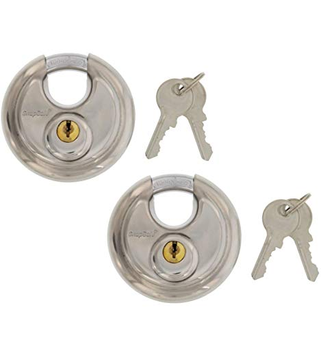 Key Padlock, Stainless Steel - Set of 2 Padlocks Keyed Alike, Classic Discus Design - Includes 4 Keys - Ideal Lock for Indoor/Outdoor Security, Storage and Tool Box, Gate & Shed