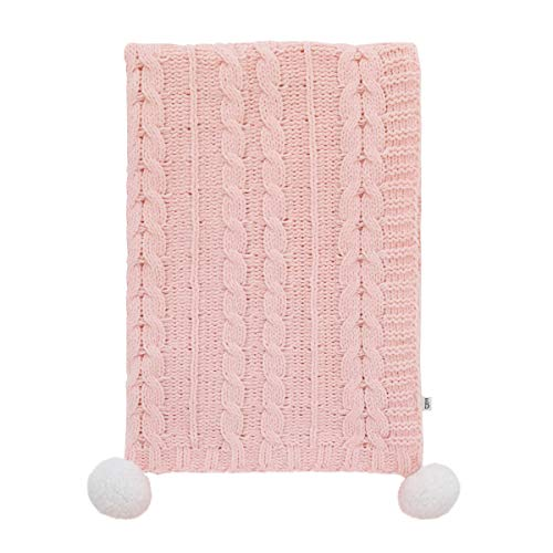 ED Ellen DeGeneres Painterly Floral - Soft Plush Pink Chenille Cable Knit Baby Blanket with Pom Poms, Pink, White