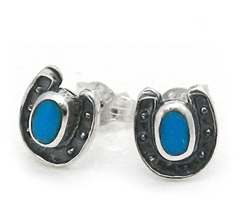 Sterling Silver Lucky Horseshoe Stone Stud Post Earrings, Turquoise - Lucky Turquoise Earrings