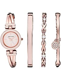 Women's AK/3284LPST Blush Pink and Rose Gold-Tone Bangle Watch and Swarovski Crystal Accented Bracelet Set
