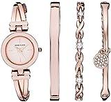 Anne Klein Women's AK/3284LPST Blush Pink and Rose Gold-Tone Bangle Watch and Swarovski Crystal Accented Bracelet Set