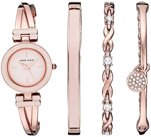 (Anne Klein Women's AK/3284LPST Blush Pink and Rose Gold-Tone Bangle Watch and Swarovski Crystal Accented Bracelet Set)