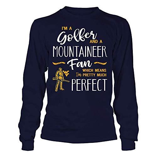 FanPrint West Virginia Mountaineers T-Shirt - Perfect Golfer West Virginia Mountaineer Fan T-Shirt | Tank - Longsleeve Tee/Navy/S ()