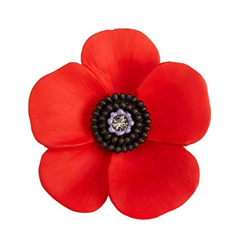 - Lest We Forget UK The 5 Petal Poppy Large Brooch, Enamel Rhodium Plated Set with Swarovski Crystal