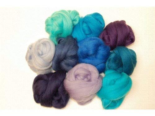 Aqua Blue hues Merino wool roving/tops . A mix of 10 colours. Great for wet felting / needle felting, and hand spinning projects. 60gm pack The Wool Barn WB-3