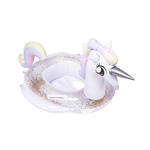 (WISHTIME Unicorn Princess Pool Float - 2019 Summer Baby Inflatable Unicorn Princess Pool Float with Glitters Infant Swimming Ring Boat for 6-36M)