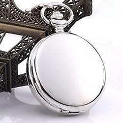Pixle Pocket Watch - Antique Silver Steel Smooth Skeleton Windup Mechanical Pocket Watch Chain Retro
