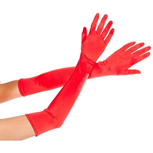 DreamHigh Womens 22 inches Finger Mittens Over Elbow Long Black/White Evening Gloves-Red]()