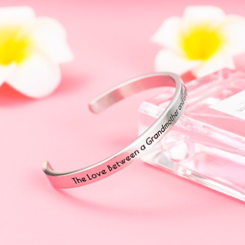Stpower Grandmother Granddaughter Gift ''The love between a grandmother and a granddaughter is forever'' Message Cuff Bracelet by Stpower (Image #1)