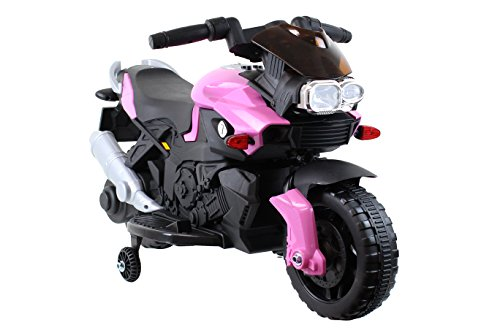 Kids Ride On 6V Electric Powered Motorcycle Bike Toy with Training Wheels with AUX Plug, Pink