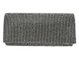 CB059 Black - Fully Diamante Evening Clutch Bag