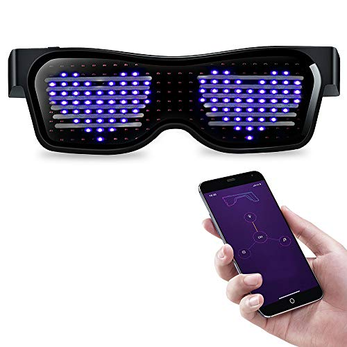 Abeden LED Glasses for Raves, LED Magic Eyeglasses Customizable Bluetooth USB Rechargeable Light Up Night for Festivals, Fun, Parties, Sports with DIY Messages Animation Drawings Blue