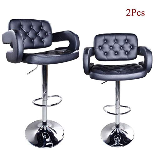 Modern Swivel Barstools,Adjustable PU Leather Counter Height Hydraulic Bar Stools with Back Arms for Kitchen Dining Chairs,Set of 2(Black)