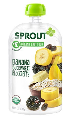 Sprout Organic Toddler Puree Pouches, Banana Buckwheat Blackberry, 4.22 Ounce (Pack of 5) by Sprout - Blackberry Puree