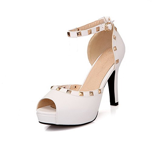 AllhqFashion Women's Solid PU High-Heels Peep Toe Metal Sandals White IHy9X