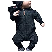 Aliven Toddler Infant Baby Girl Boy Long Sleeve Deer Romper Jumpsuit Pajamas Xmas Outfit,0-6 Months,Black