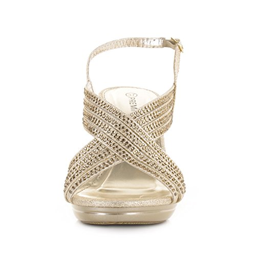 Sko Diamante Fest Sandaler Mid Hæl Kors Womens Prom Stropp Gull Glam pA8qTqSB