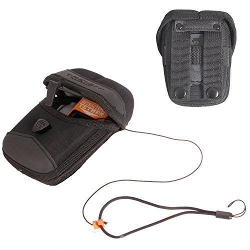 """T-REIGN X-Large ProCase Rigid Weather, Water and Impact Resistant Binoculars Case with 36"""" Kevlar Retractable Tether, Black, M.O.L.L.E Attachment"""