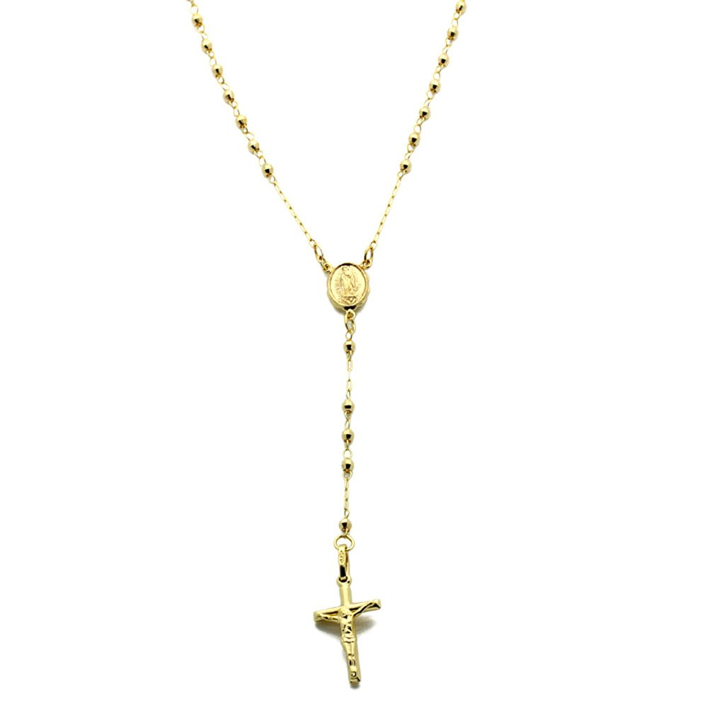 14K Yellow Gold Rosary Necklace 2.5mm Bead Rosary Chain Necklace (16, 18, 20 Inches), 18''
