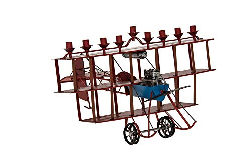 Copa Judaica Ancient Airplane Menorah for Chanukah - for Standard Hanukkah Candles - Old School Flying Machine Menora Style - 7