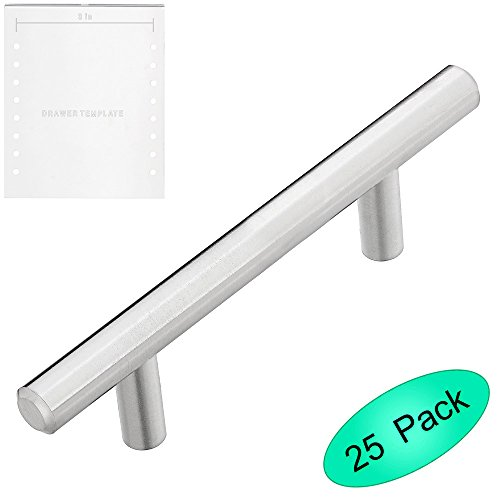 Lizavo 701-030SN Brushed Satin Nickel Cabinet Pulls Solid Modern Euro Style T Bar Kitchen Cabinet Handles- 3