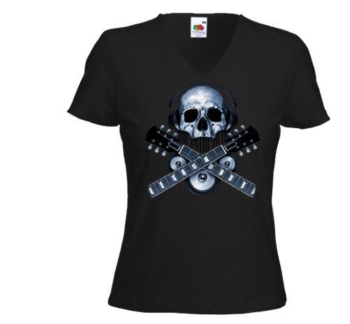 Damen T-Shirt Guitar Skull Music Gitarre V-Twin Heavy Metal Gr.L