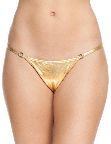 Women's New Liquid Thong Swimsuit Bottom By Gary Majdell Sport Liquid Gold Large