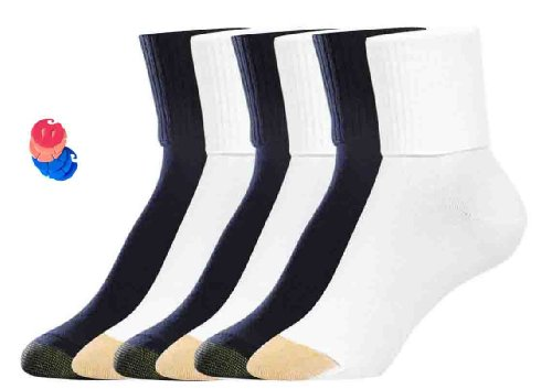 ack Turn Cuff Socks / 6 Free Sock Clips Included ($5 Value) (3 Black / 3 White) ()