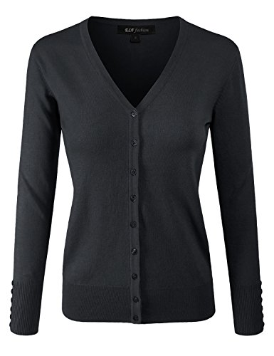 Knit Cardigan Sweater Top (ELF FASHION Women Top Long Sleeve Button V-Neck Knit Sweater Cardigan (Size S~3XL) Black M)