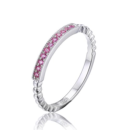 JewelryPalace Women's 925 Sterling Silver Created Pink Sapphire Rope Band Stackable Ring Size 8 - Pink Sapphire Stackable Ring