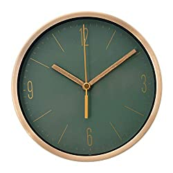COMODO CASA Wall & Desk Clock- Metal Gold Frame-Glass Cover-Non Ticking-Quartz Sweep-Silent 6 inch Modern Clock (Green)