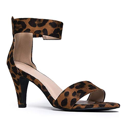 Inornever Open Toe High Heels Sandals for Women Dress Wedding Party Pump Sandals with Ankle Strap Comfortable Summer Shoes Leopard 7.5 B (M) US
