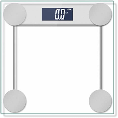400lb 180kg Digital Body Weight Bathroom Scale with Step-On Technology and Tempered Right Angle Glass Balance Platform