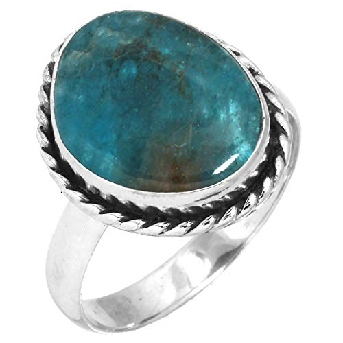 Natural Neon Blue Apatite Ring Solid 925 Sterling Silver Designer Jewelry Size 9.5