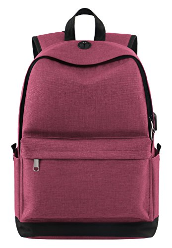 Laptop Backpack for Girls, College High School Student Backpack with Charger for Women and Teens, Water Resistant Canvas Book Bag Weekend Travel Daypack Fits 15.6 Inch Macbook Tablet and Books -Pink (Women Backpack College For)