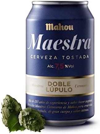 Mahou Maestra Doble Lúpulo Cerveza Lager Tostada, 7.5% Volumen de Alcohol - Lata de 33 cl: Amazon.es: Alimentación y bebidas