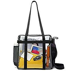 iSPECLE Clear Bag, Clear Tote Bag Stadium Approved for Sport Football Games, Works, Adjustable Shoulder Strap for Women Men 12 x 12 x 6 inch