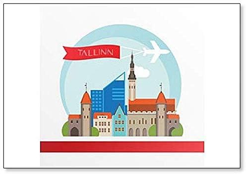 Calamita da frigorifero classica con illustrazione skyline di Tallin Estonia