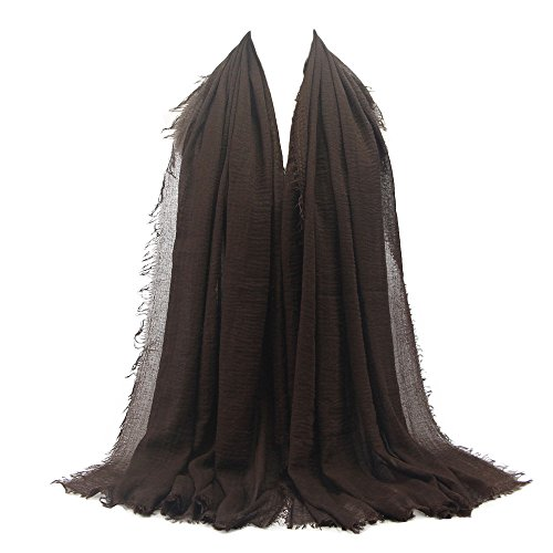 Women Vintage Lightweight Soft Scarves Premium Crinkle Cloud Hijab Scarf Shawl Islam Muslim HunYUN -