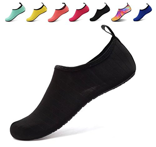 AoSiFu Water Sports Shoes Barefoot Quick-Dry Aqua Yoga Socks Slip-on for Men Women US 11-12 Women, 9.5-10 Men 42-43 Black